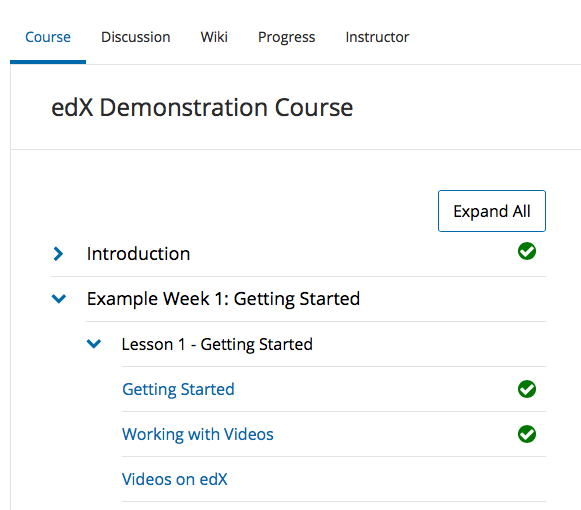Progress indicators in the outline view of Open edX Hawthorn
