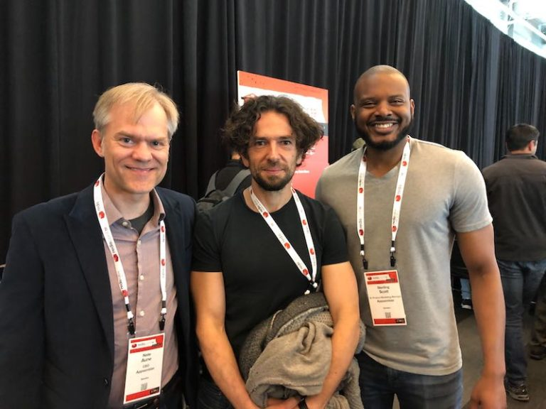 Nate Aune (Appsembler), Salvatore Sanfilippo (RedisLabs), and Sterling Scott (Appsembler) at RedisConf19